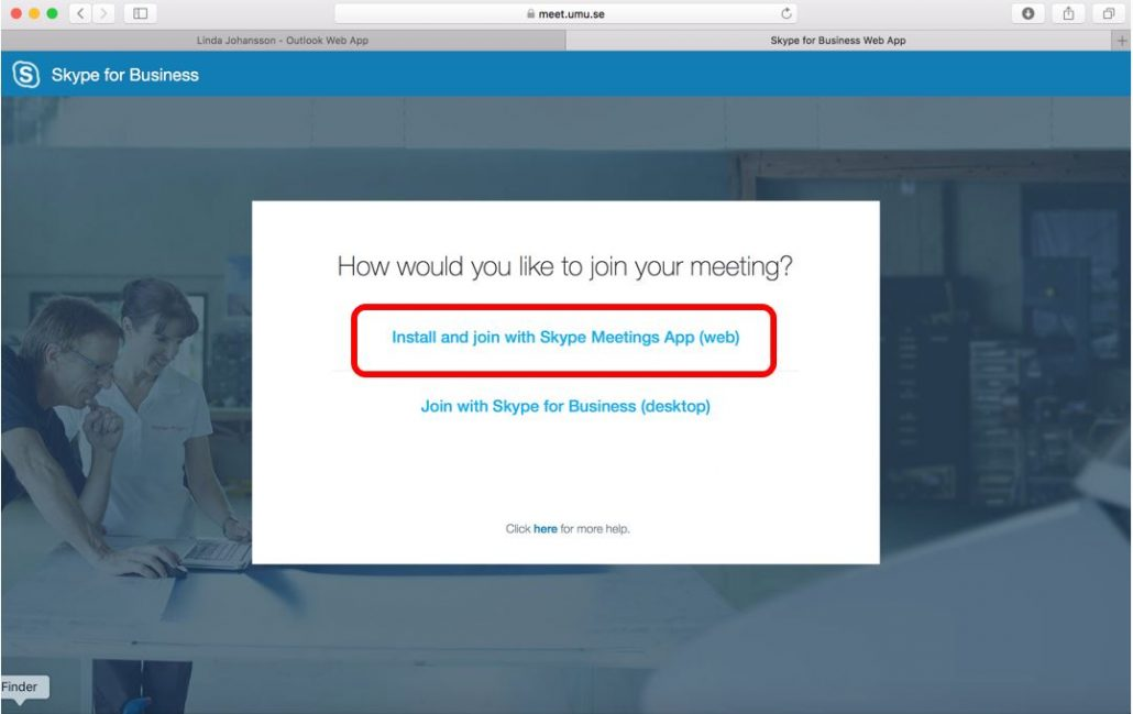 Connecting to a Skype for Business meeting with the web app (Mac