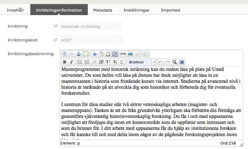 visar vilket fält i Epi-server du redigerar inritktningsbeskrivning