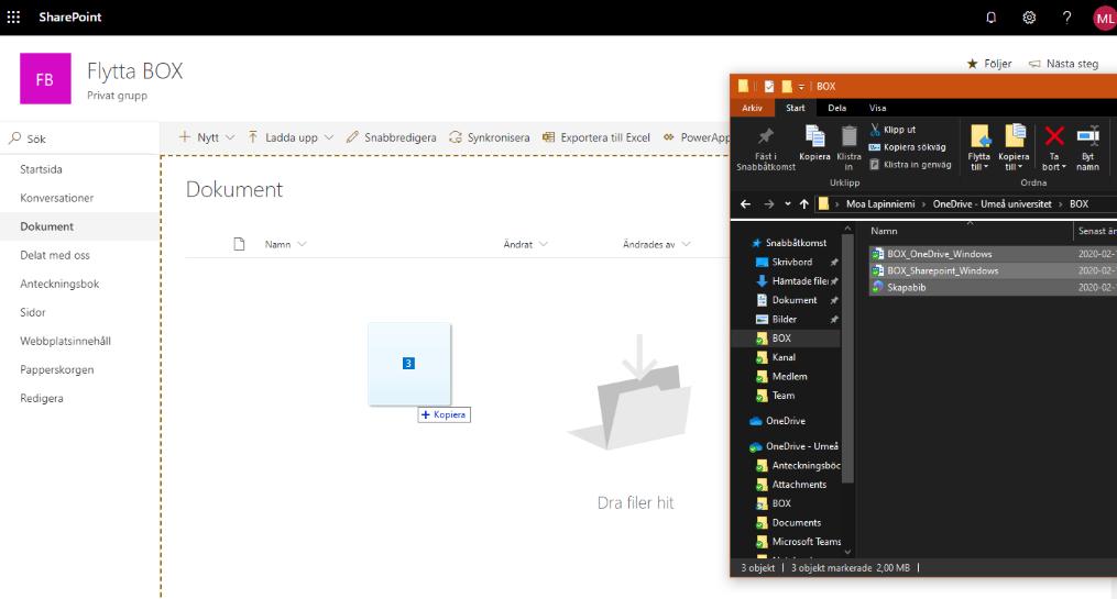 Flytta filer från Box till Sharepoint