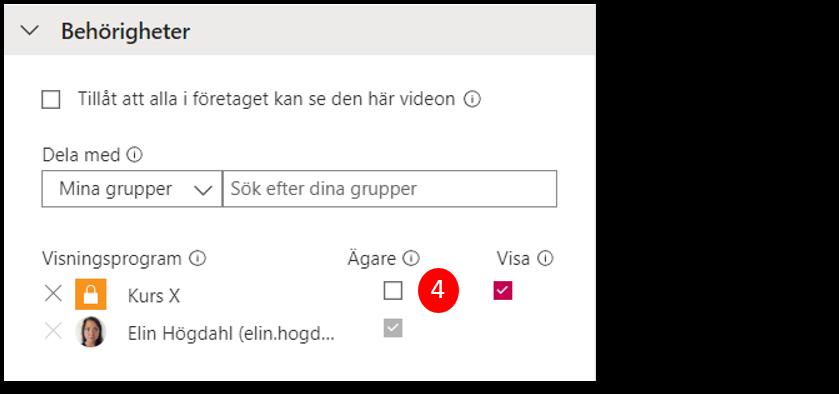 Ange behörigheter för video i Stream