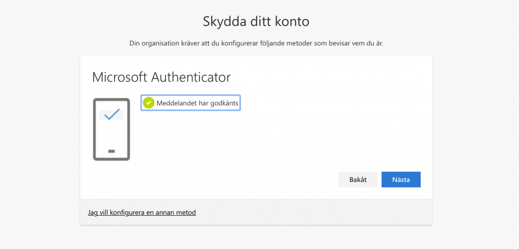 Meddelandet godkant Microsoft Authenticator