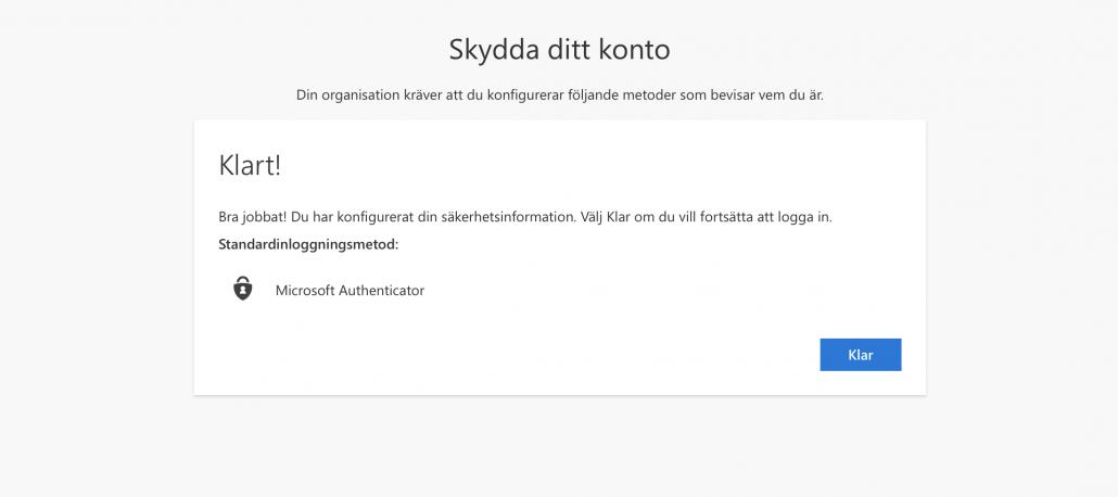 Microsoft Authenticator klart
