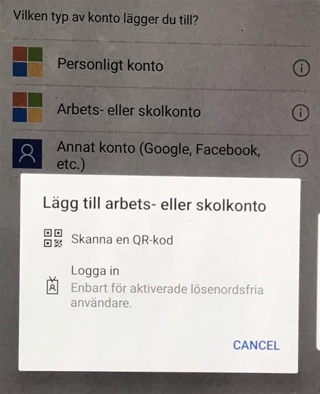 Microsoft Authenticator adding account