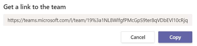 Copy link to invite team members Teams