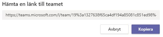 Länk att dela för att bjuda in medlem till Team