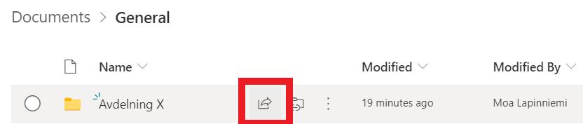 Ikon för att dela fil i Sharepoint