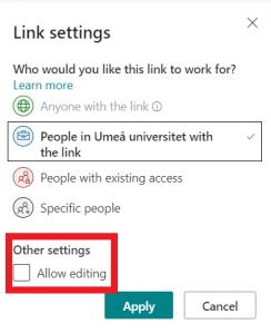 Inställningar behörighet för en fil