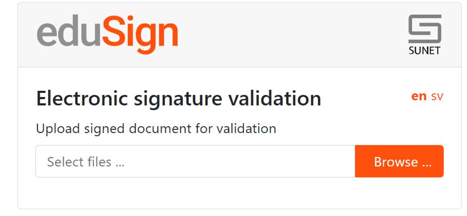 Skärmdump som visar hur valideringsverktyget ser ut.