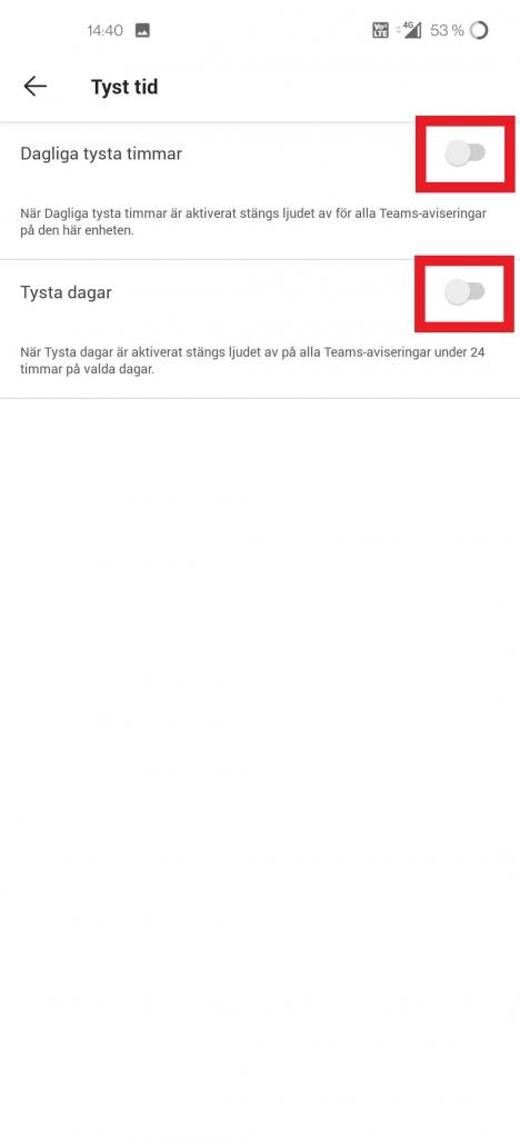 Bilden föreställer en skärmdump från mobilappen för Teams som visar hur du hittar menyn för att ställa in tysta timmar i mobilen.