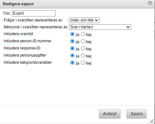 Inställningar export Websurvey