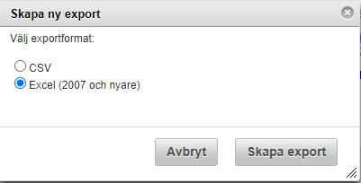 Välj filformat för export Websurvey