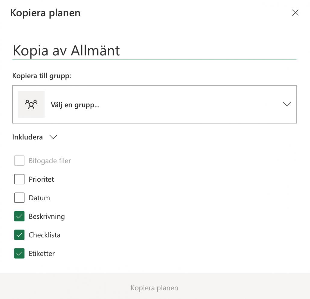 Inställningar kopiera planner