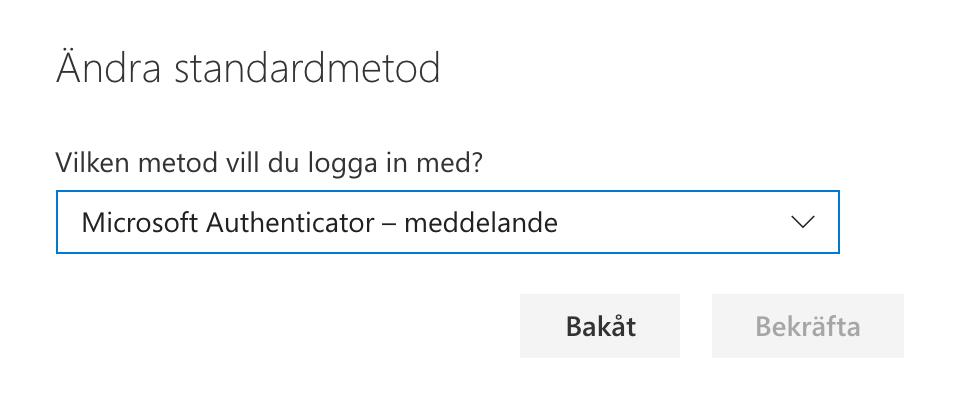 Bekräfta byte standardinloggnin Authenticator