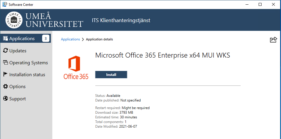 Software center install Office 365