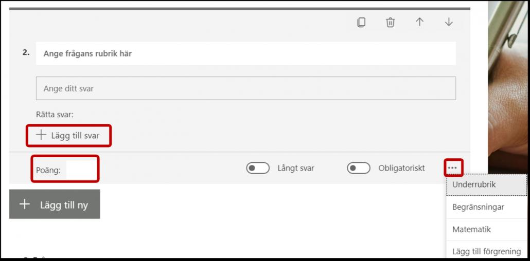 Inställningar för text fråga Forms