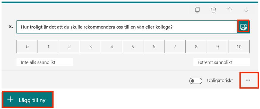 Lägga till Net Promoter score Forms