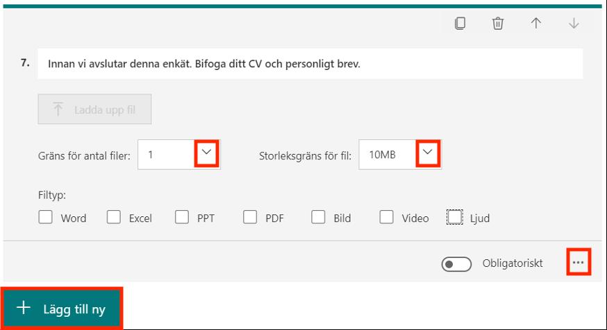 Lägga till filuppladdning fråga Forms