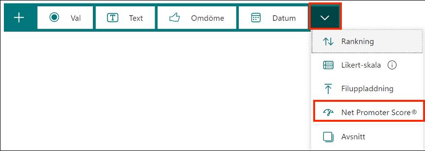 Net Promoter score fråga Forms