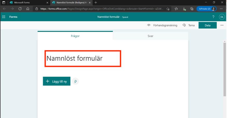 Nytt formulär Forms