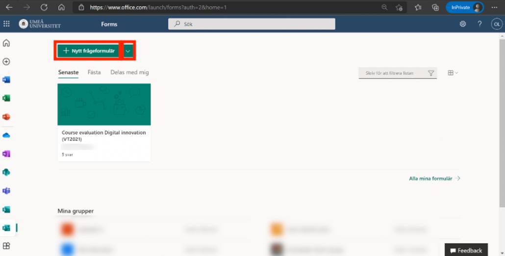 Skapa formulär - forms portal - skapa formulär knapp