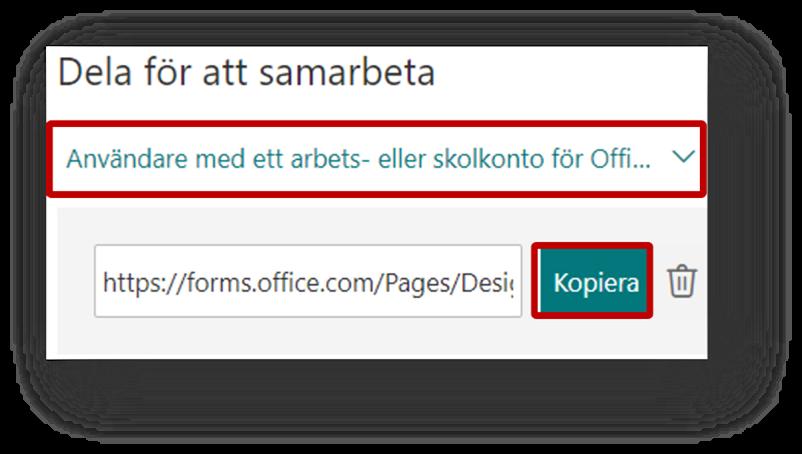 Dela för att samarbeta - klicka på kopiera eller ändra delningsinställningar