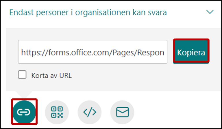 Dela formulär - via länk