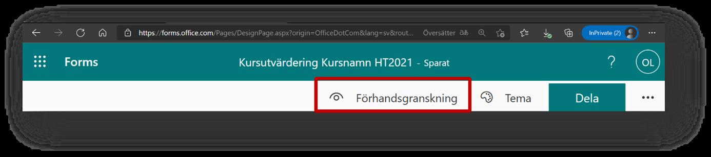 Förhandsgranska och dela ett formulär i Forms - hitta förhandsgranska knappen
