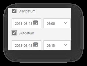Justera inställningar i forms - alternativ för svar - start och slut datum