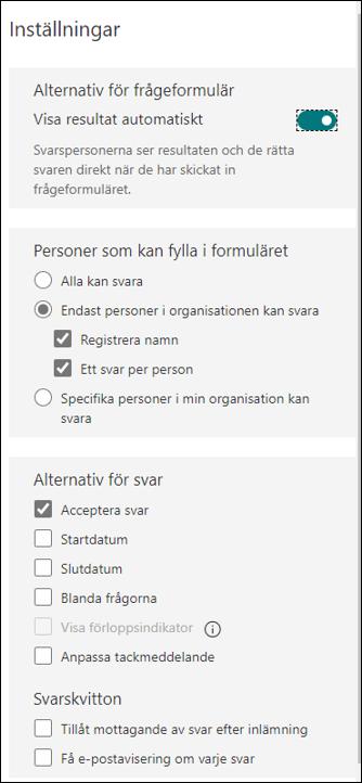 Justera inställningar på ditt formulär - Alla inställningar