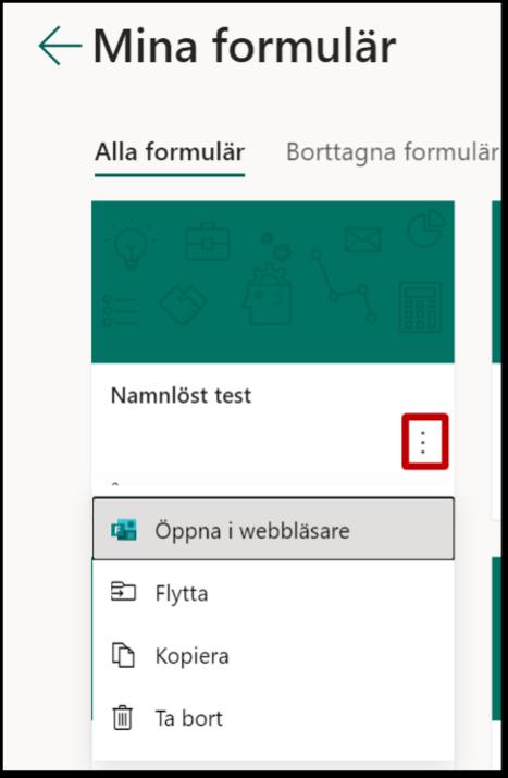 Kopiera ta bort flytta formulär Forms