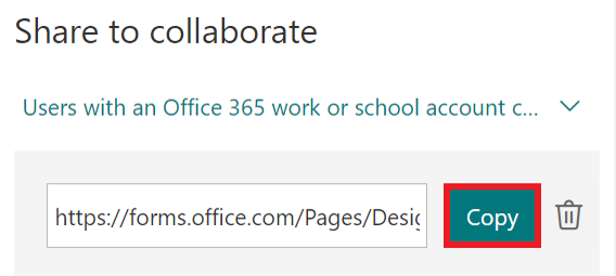 Share to collaborate - select copy