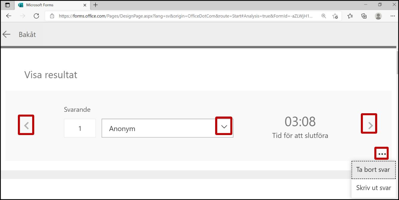 Visa resultat från ett formulär i Forms - svarsfliken - bläddra mellan personer