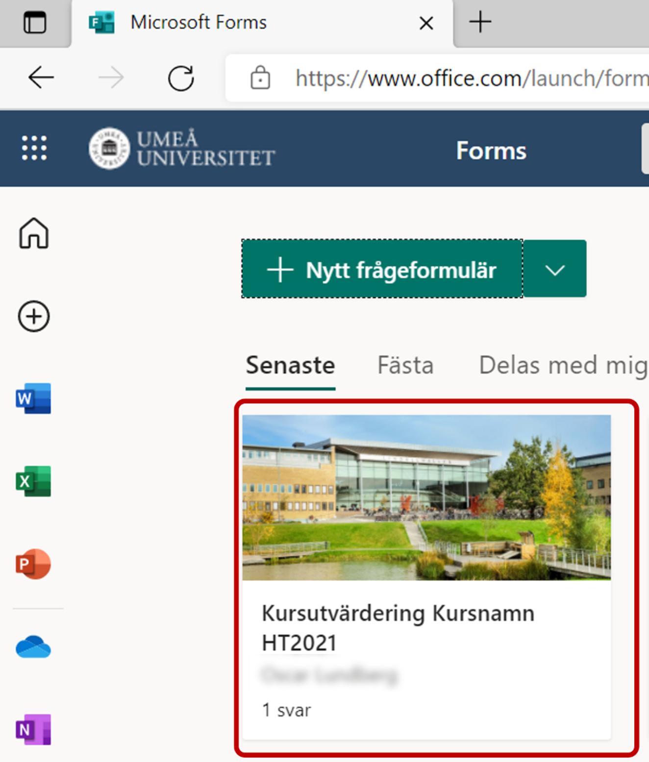 Visa resultat från ett formulär i forms - din forms portal - välj formulär