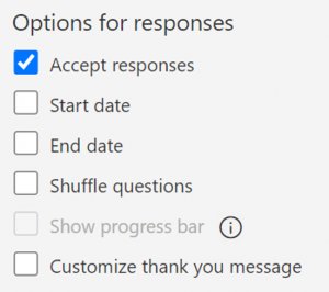 adjust settings in Forms - options for responses