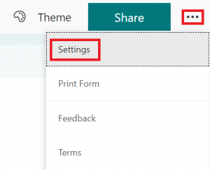 adjust settings in forms, find settings buttom