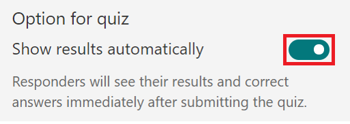 adjust settings in forms - option for quiz