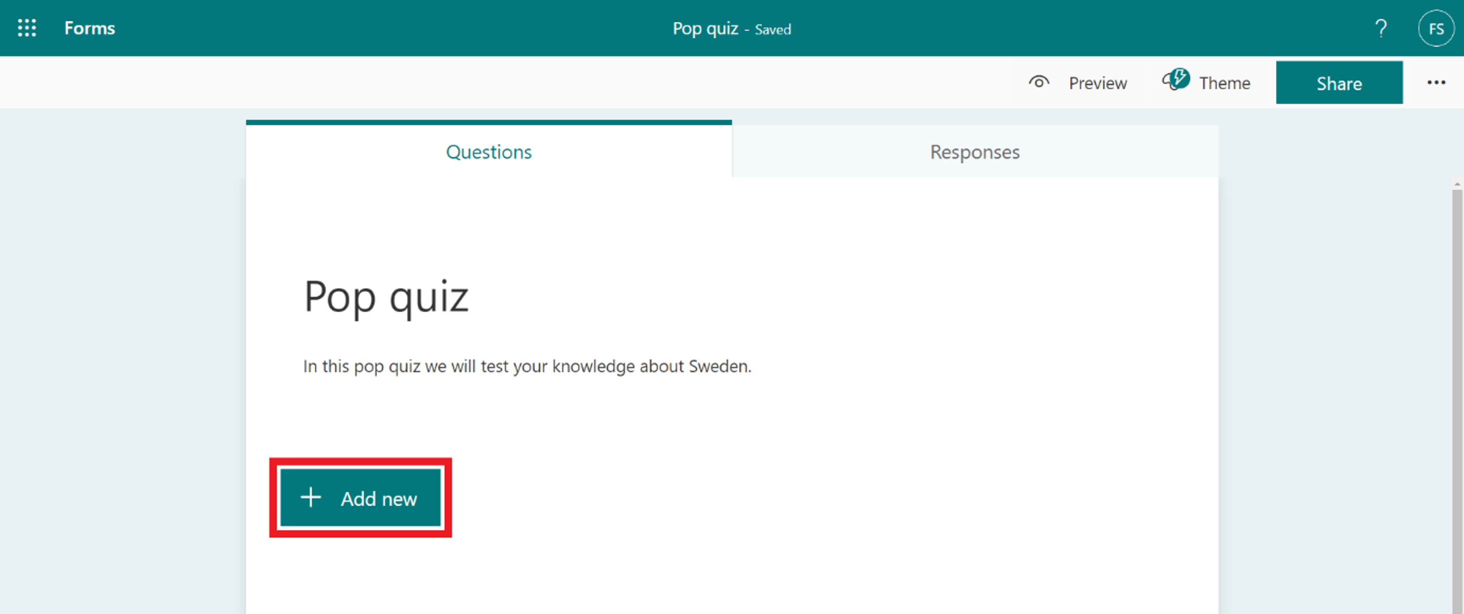 create questions in a quiz - add new buttom