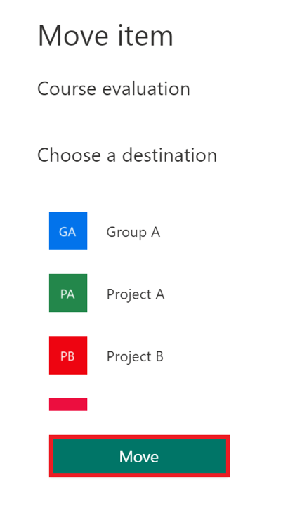 move form - select group