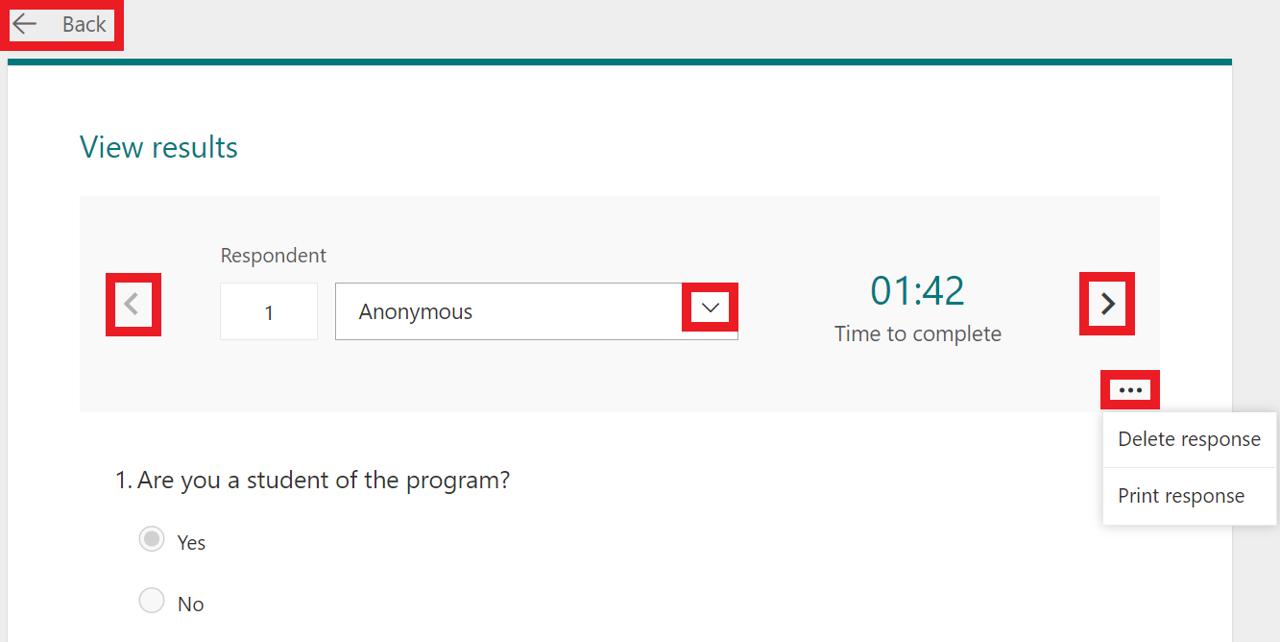 reveiw results from a form - reveiw tab decription