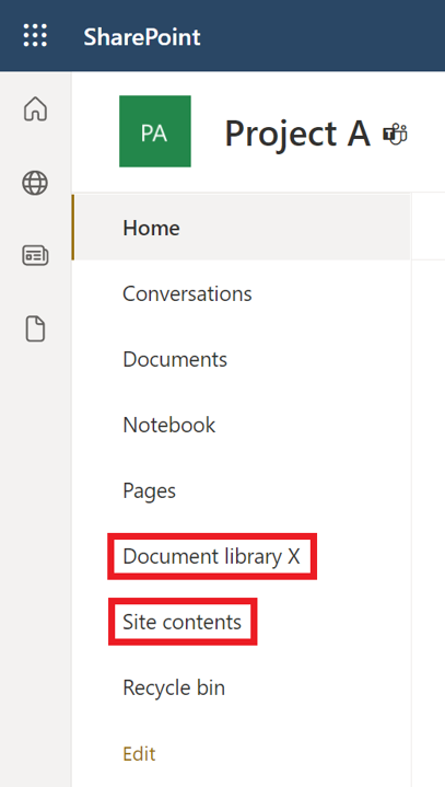Create a document library in SharePoint - new liberary show in menue or site contents