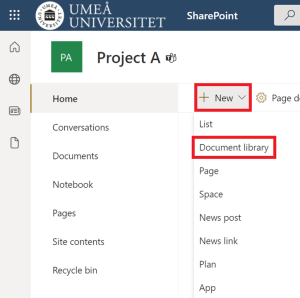 Create a document library in SharePoint - select document liberary