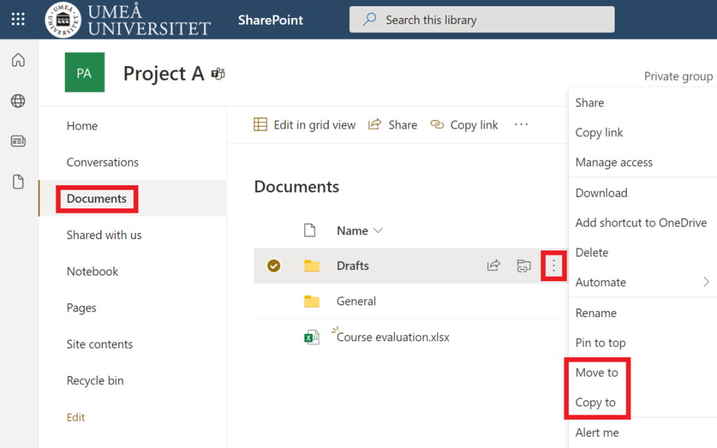 Move or copy files in SharePoint