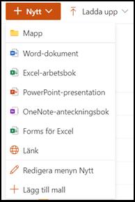 Välj dokumenttyp eller mapp