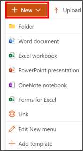 create files and maps in sharepoint - click on new and chose files or filer to create