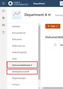 dokumentbibliotek i webbplatsnavergieringmenyn