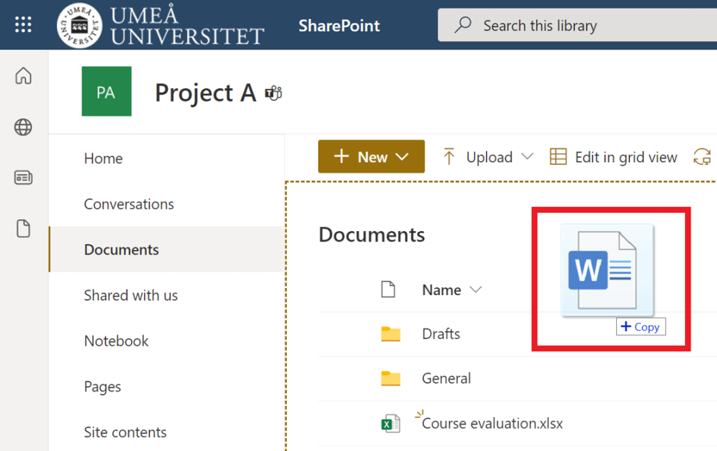 drag and drop files in sharepoint