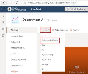 skapa dokumentbibliotek - välj ny - dokumentbibliotek