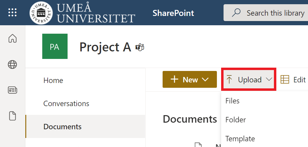upload files in sharepoint - upload - select files folder template