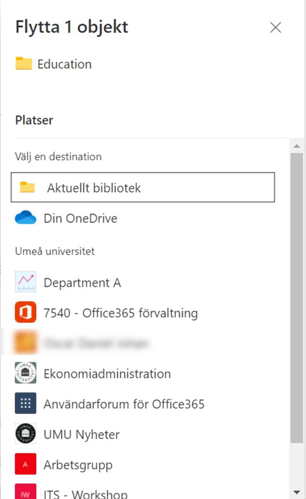 välj vart du vill flytta, kopiera dina filer i sharepoint